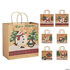 christmas kraft paper gift bag assortment