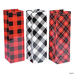 Christmas Plaid Wine Gift Bags