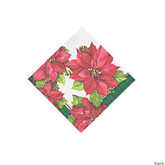 Christmas Poinsettia Beverage Napkins