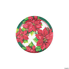 Christmas Poinsettia Round Paper Dessert Plates - 8 Ct.