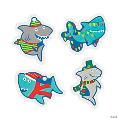 Christmas Shark Erasers - 24 Pc.