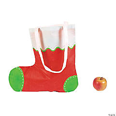 Christmas Stocking-Shaped Tote Bags