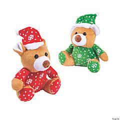 Christmas Stuffed Bears with Santa Hats - 12 Pc.