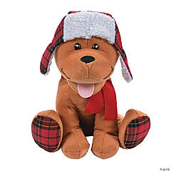 Christmas Stuffed Dog with Plaid