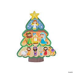Christmas Tree Nativity Sticker Scenes