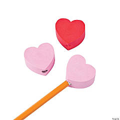 Chunky Heart Pencil Top Erasers - 12 Pc.