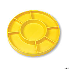Circular Sorting Tray, 7 Compartments, Yellow, Set of 3