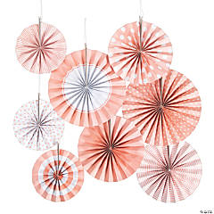 Classic Pink Hanging Paper Fan Assortment