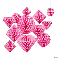 Classic Pink Hanging Paper Honeycomb Decoration Assortment