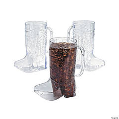 Clear Cowboy Boot Mugs