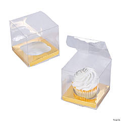 Clear Cupcake Boxes with Gold Base