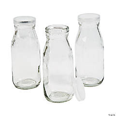 Clear Glass Milk Bottles with Lid