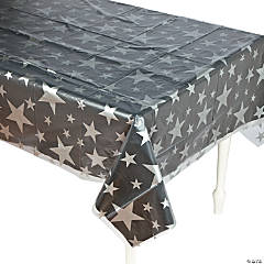 Clear Silver Star Print Tablecloth