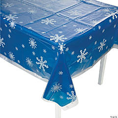 Clear Snowflake Print Plastic Tablecloth