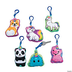 Clip Critters Stuffed Anicorn Keychains