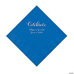 Cobalt Blue Celebrate Personalized Napkins with Silver Foil - Luncheon