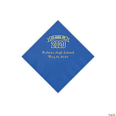 Cobalt Blue Class of 2020 Personalized Napkins with Gold Foil - Beverage