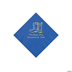 Cobalt Blue Cowboy Boots Personalized Napkins with Gold Foil - Beverage