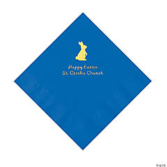 Cobalt Blue Easter Bunny Personalized Napkins with Gold Foil - Luncheon