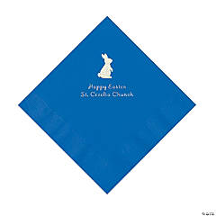 Cobalt Blue Easter Bunny Personalized Napkins with Silver Foil - Luncheon