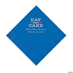 Cobalt Blue Eat Cake Personalized Napkins with Silver Foil - Luncheon