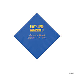 Cobalt Blue Eat Drink & Be Married Personalized Napkins with Gold Foil - Beverage