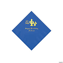 Cobalt Blue Fiesta Personalized Napkins with Gold Foil - Beverage
