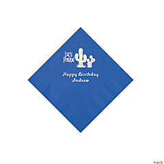 Cobalt Blue Fiesta Personalized Napkins with Silver Foil - Beverage
