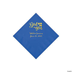 Cobalt Blue God Gave Me You Personalized Napkins with Gold Foil - Beverage