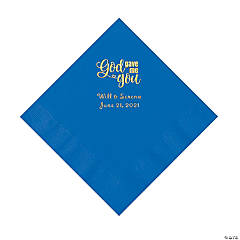 Cobalt Blue God Gave Me You Personalized Napkins with Gold Foil - Luncheon