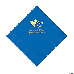 Cobalt Blue Hearts Personalized Napkins with Gold Foil - Luncheon