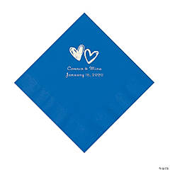 Cobalt Blue Hearts Personalized Napkins with Silver Foil - Luncheon