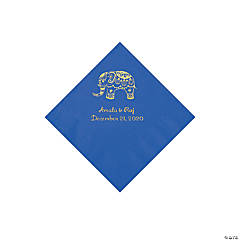 Cobalt Blue Indian Wedding Personalized Napkins with Gold Foil - Beverage