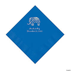 Cobalt Blue Indian Wedding Personalized Napkins with Silver Foil - Luncheon