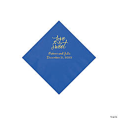 Cobalt Blue Love Is Sweet Personalized Napkins with Gold Foil - Beverage