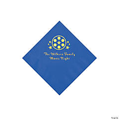 Cobalt Blue Movie Night Personalized Napkins with Gold Foil – Beverage