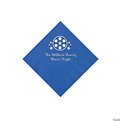 Cobalt Blue Movie Night Personalized Napkins with Silver Foil – Beverage