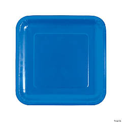 Cobalt Blue Square Paper Dinner Plates - 18 Ct.
