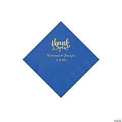 Cobalt Blue Thank You Personalized Napkins with Gold Foil - Beverage