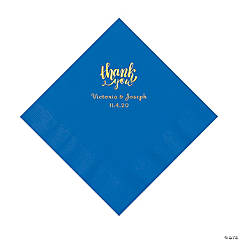 Cobalt Blue Thank You Personalized Napkins with Gold Foil - Luncheon