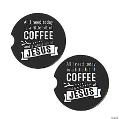 Coffee & Jesus Ceramic Car Coaster Set