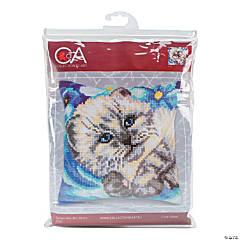 Collection D'Art Stamped Needlepoint Cushion Kit - Cute Kitten