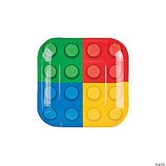 Color Brick Party Paper Dessert Plates