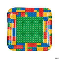 Color Brick Party Paper Dinner Plates - 8 Ct.