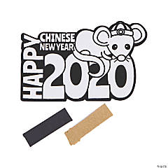 Color Your Own 2020 Chinese New Year Fuzzy Rat Magnets