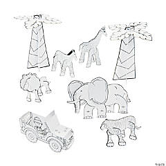 Color Your Own 3D Safari Expedition Play Set