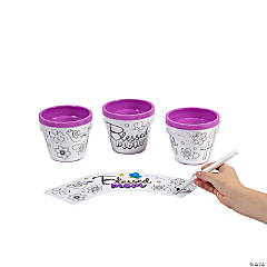 Color Your Own Blessed Mom Flowerpots