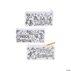 Color Your Own Canvas Christmas Pencil Cases