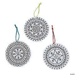 Color Your Own Christmas Mandala Ornaments