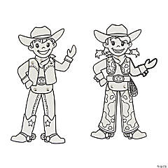 Color Your Own Cowboy & Cowgirl Jointed Characters